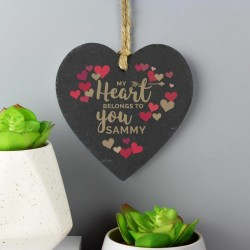 Personalised 'My Heart Belongs To You Confetti Hearts Printed Slate Heart Decoration